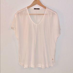 Flowy Short Sleeve White Blouse